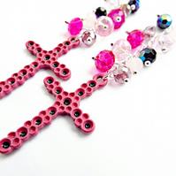 90mm Drop Pink Cross Earrings with Faceted Glass Crystal Beads - Silver Plated
