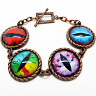 Evil Eye Copper Handmade Bracelet - One of a Kind Dragon Eye Jewellery