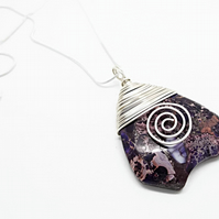 Handmade Purple Jasper Necklace - Sea Sediment Jasper Shield Pendant