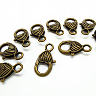 10 Bronze Tone Giant Lobster Clasps with Heart Detail - 25mm Jewellery Clasps