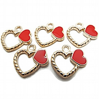 10 Gold Metal Heart Charms with Red Heart Enamel Decoration - 18mm Gold Heart