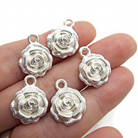 10 Bright Matte Silver Rose Charms - 17x14mm Flower Pendants