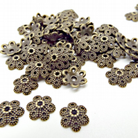 100 Flower Style Antique Bronze Tone Bead Caps for Beaded Jewellery Making