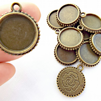 10 x Bronze Bezel Tray Pendants with Rose Design - Fits 18mm Cabochon