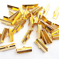 20mm Gold Metal Ribbon Crimps - Gold End Clamps 50 Pcs