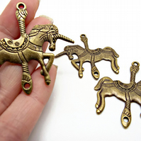 3 x Bronze Tone 44mm Carousel Unicorn Jewellery Connectors or Pendants