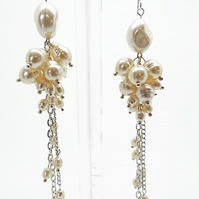 Faux Cream Pearl Dangle Earrings with Silver Plated Findings - Handmade