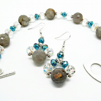 Labradorite Bracelet & Earrings Handmade Set with Sterling Silver Earwires