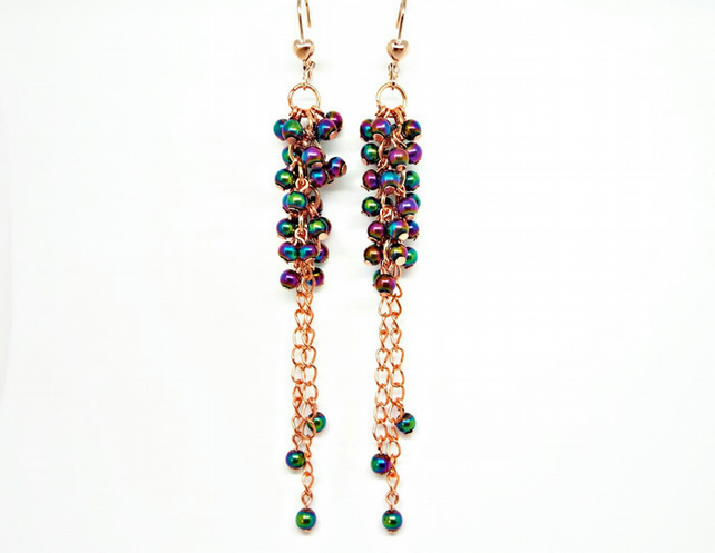 Rose Gold Rainbow Electroplated Handmade Beaded Dangle Earrings