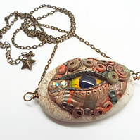 Magnesite Stone and Polymer Clay Dragon Eye Necklace - Focal Pendant