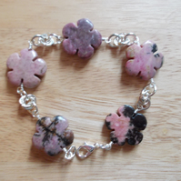 Rhodonite flowers and chainmaille bracelet