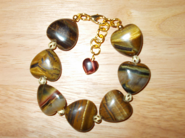 Tigers eye heart bracelet