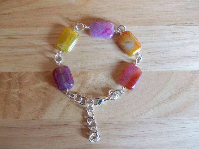 Metallic coated agate bracelet