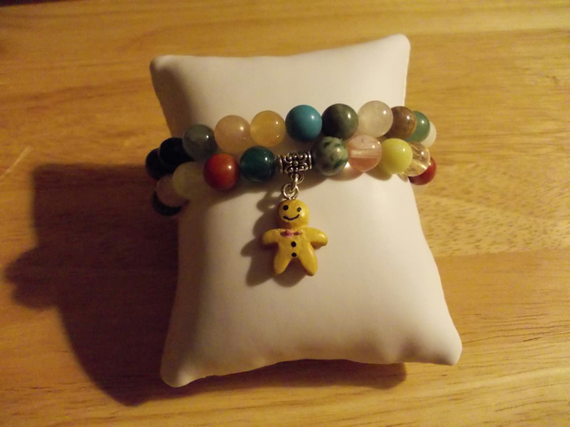 Gingerbread man charm bracelet