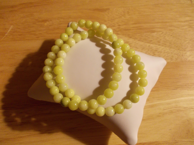 Lemon agate elasticated bracelet duo