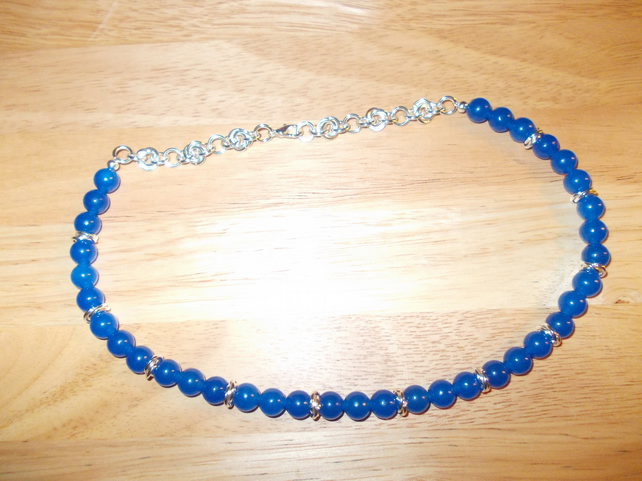 Royal Blue coloured quartz necklace