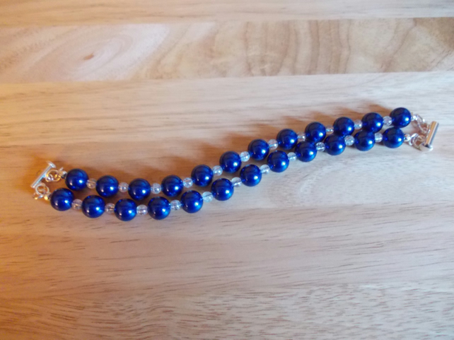 Blue shell and quartz two strand bracelet