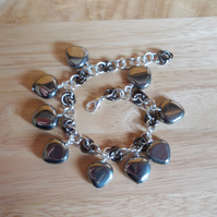 metallic silver coated agate chainmaille charm bracelet