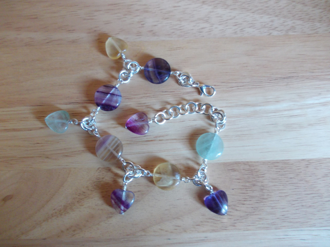 Flourite chainmaille charm bracelet