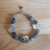 Lemon and cloudy quartz bracelet
