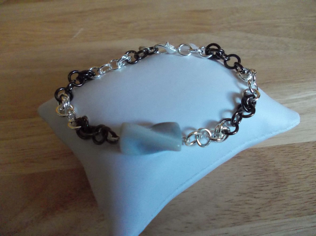 Botswana agate chainmaille bracelet