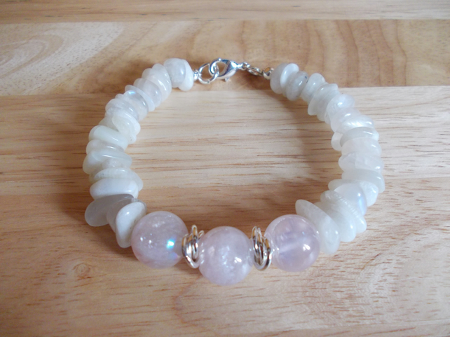 mystic coated rose quartz and moonstone bracelet