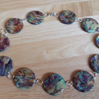 Printed shell coin necklace
