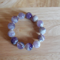 Bi-colour amethyst stretchy bracelet