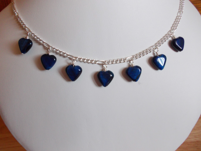 Blue tiger's eye heart charm necklace