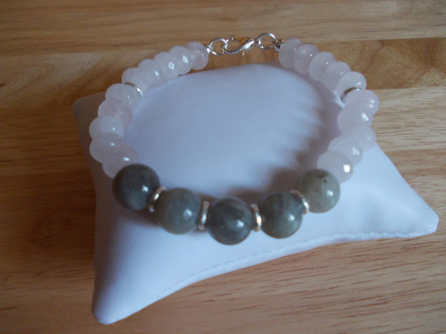 Rose quartz and labradorite bracelet
