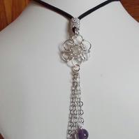 Amethyst and chainmaille flower pendant