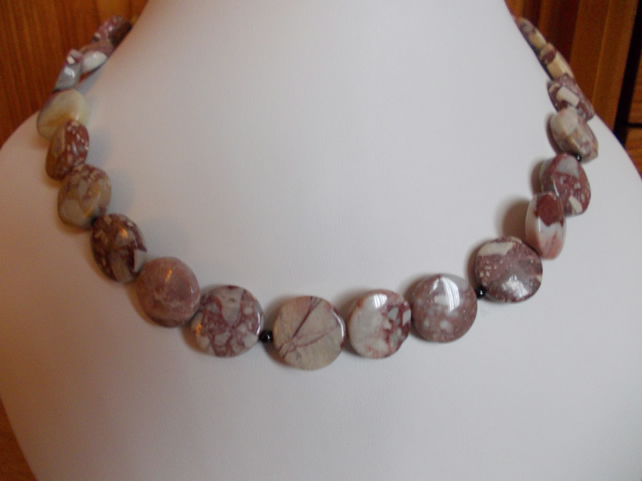 Porcelain jasper coin necklace