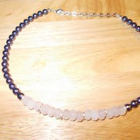 Rose quartz and faceted shell pearl necklace