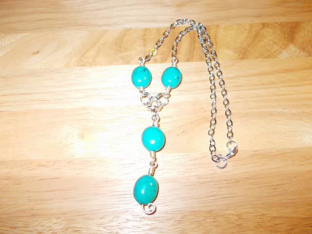 Turquoise drop chain pendant