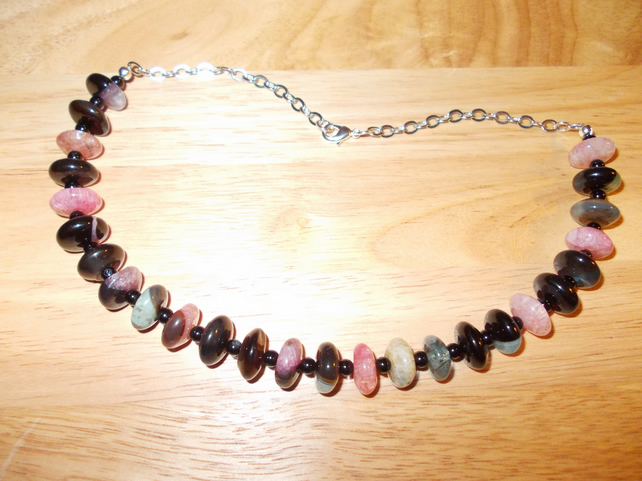 Multi-colour agate wheel necklace