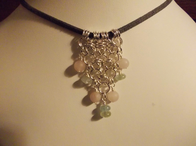 Frosted rose quartz and aquamarine chainmaille pendant