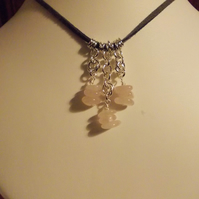 Rose quartz slices and chainmaille pendant