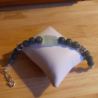 Aqua chalcedony and Grey coloured quartz bracelet