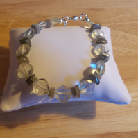 Green amethyst and Grey moonstone bracelet