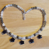 Rainbow moonstone, silver coated quartz and agate star necklace