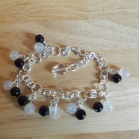 Black and white agate chainmaille charm bracelet