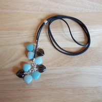 Amazonite and smokey quartz heart long length necklace