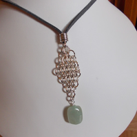Beryl nugget and chainmaille pendant