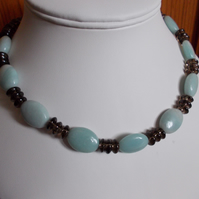 Amazonite oval and smokey quartz necklace