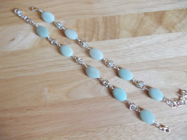 Amazonite oval and chainmaille bracelets