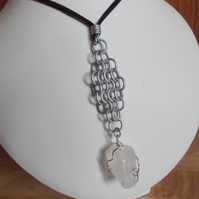Quartz nugget and chainmaille pendant