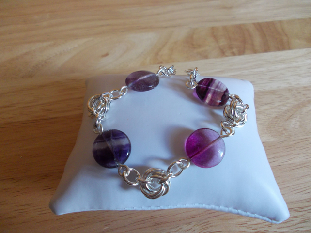 Pink and purple flourite chainmaille bracelet