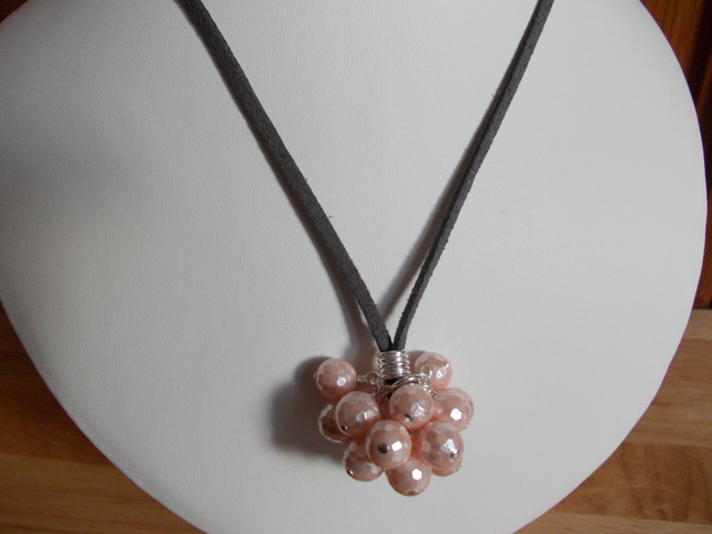 Pink shell pearl cluster pendant