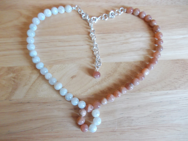 Two tone moonstone necklace