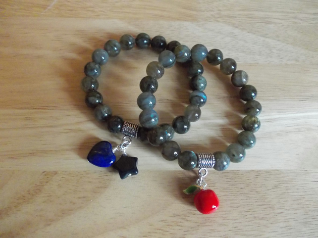 Labradorite elasticated bracelets with charm